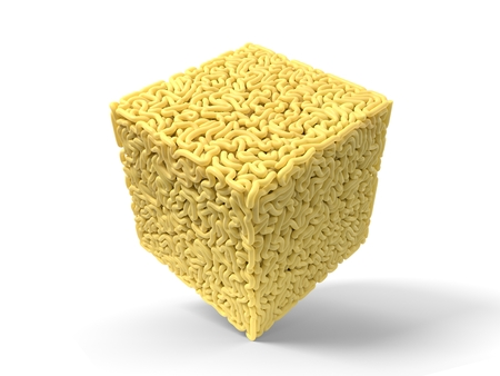 noodle in shape of cube. curly spaghetti for cooking. 3d illustration Stockfoto