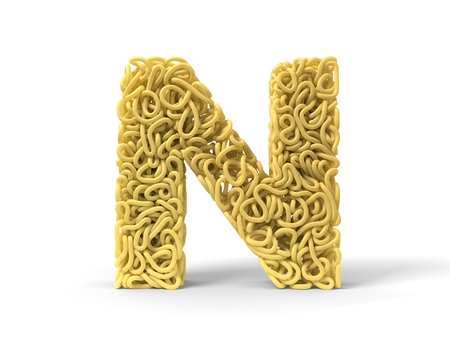 noodle in shape of N letter. curly spaghetti for cooking. 3d illustration Stockfoto