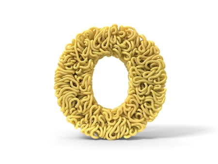 noodle in shape of O letter. curly spaghetti for cooking. 3d illustration Stockfoto