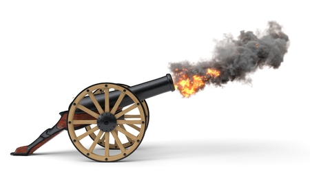 ramadan cannon shoting soccer ball.. 3d illustration