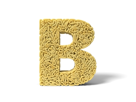 noodle in shape of B letter. curly spaghetti for cooking. 3d illustration