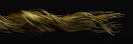 twisting golden wires. flowing metal rods on air. 3d illustration