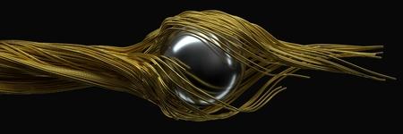 twisting metal wires. flowing metal rods on air. 3d illustration