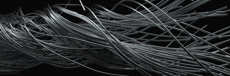 twisting steel wires. flowing metal rods on air. 3d illustration Stock Illustration - 121296837
