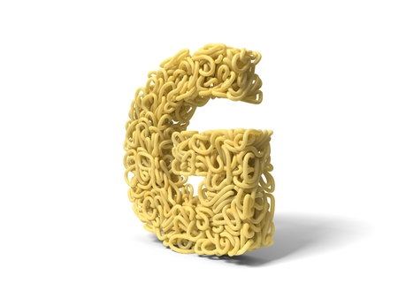 noodle in shape of G letter. curly spaghetti for cooking. suitable for cooking, noodle and spaghetti themes. 3d illustration