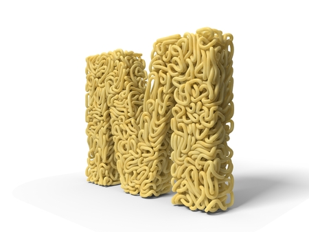 noodle in shape of M letter. curly spaghetti for cooking. suitable for cooking, noodle and spaghetti themes. 3d illustration
