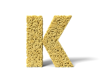 noodle in shape of K letter. curly spaghetti for cooking. 3d illustration Stockfoto