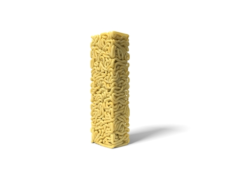 noodle in shape of I letter. curly spaghetti for cooking. 3d illustration