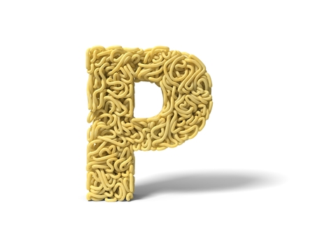 noodle in shape of P letter. curly spaghetti for cooking. suitable for cooking, noodle and spaghetti themes. 3d illustration