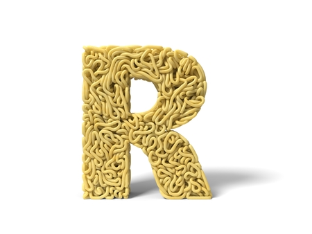 noodle in shape of R letter. curly spaghetti for cooking. suitable for cooking, noodle and spaghetti themes. 3d illustration Stockfoto