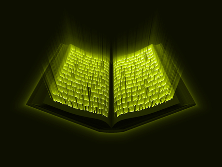 Quran kareem. the sacred book of islam. glowing arabic text with light rays. suitable for ramadan, islam and book themes. 3d style vector illustration.