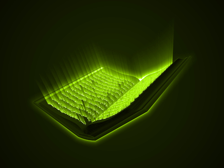 Quran kareem. the sacred book of islam. greenly glowing arabic text with light rays. 3d style vector illustration.