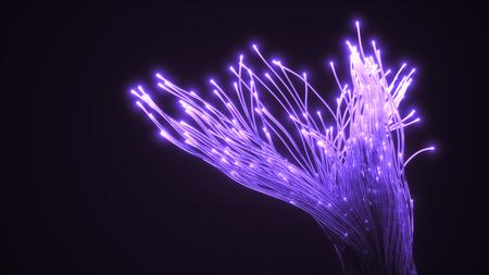 purple fiber optic glass strings glowing in dark. 3d illustration Фото со стока