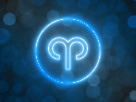 glowing neon sign of Aries with blurred bokeh background. 3d illustration