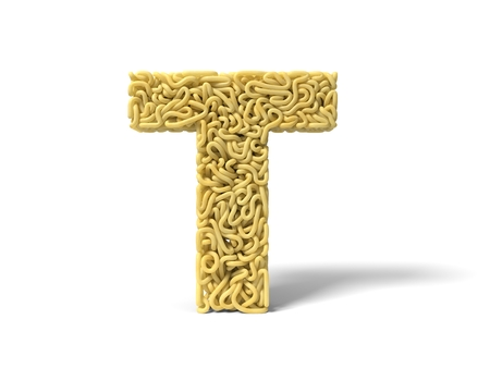 noodle in shape of T letter. curly spaghetti for cooking. 3d illustration Stockfoto