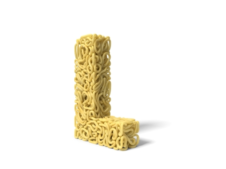noodle in shape of L letter. curly spaghetti for cooking. 3d illustration Stockfoto