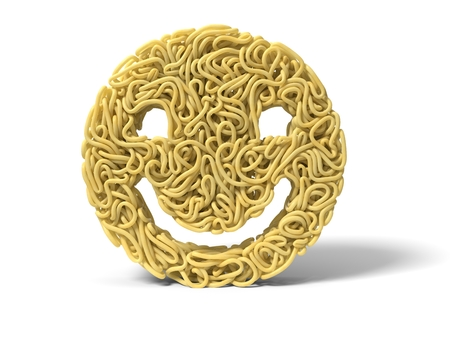 noodle in shape of smiley face. curly spaghetti for cooking. 3d illustration Stockfoto