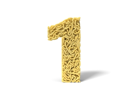 noodle in shape of number 1. curly spaghetti for cooking. 3d illustration Stockfoto