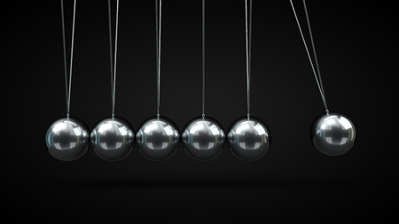 Newtons Cradle with silver balls. 3d illustration, on black backgorund