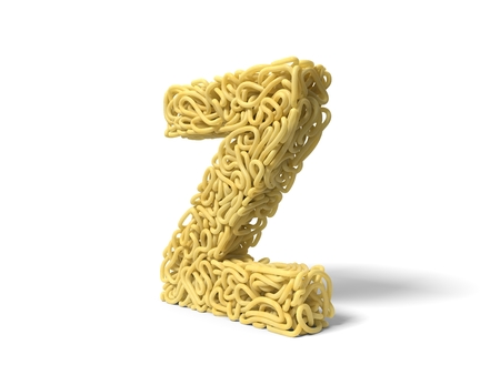 noodle in shape of Z letter. curly spaghetti for cooking. 3d illustration