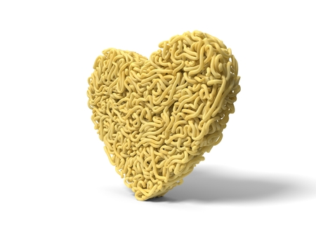 noodle in shape of heart symbol. curly spaghetti for cooking. 3d illustration