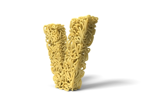 noodle in shape of V letter. curly spaghetti for cooking. 3d illustration Stockfoto