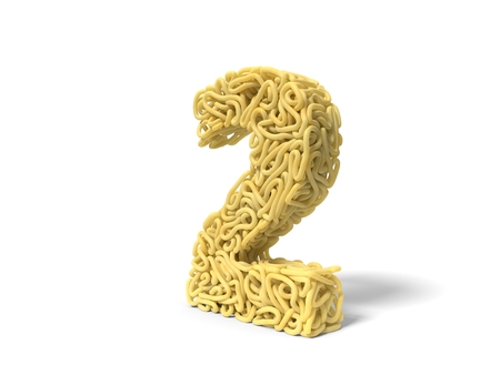 noodle in shape of number 2. curly spaghetti for cooking. 3d illustration