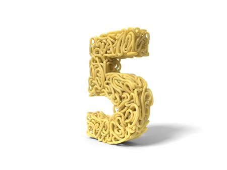 noodle in shape of number 5. curly spaghetti for cooking. 3d illustration