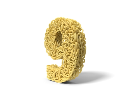 noodle in shape of number 8. curly spaghetti for cooking. 3d illustration Stockfoto