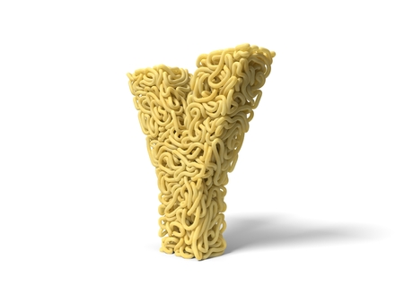 noodle in shape of Y letter. curly spaghetti for cooking. 3d illustration Stockfoto