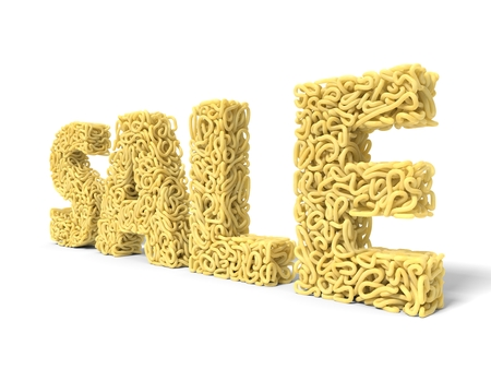 noodle in shape of noodle text. curly spaghetti for cooking. 3d illustration