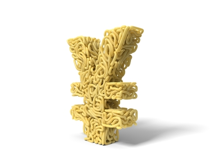 noodle in shape of yuan symbol. curly spaghetti for cooking. 3d illustration Stockfoto