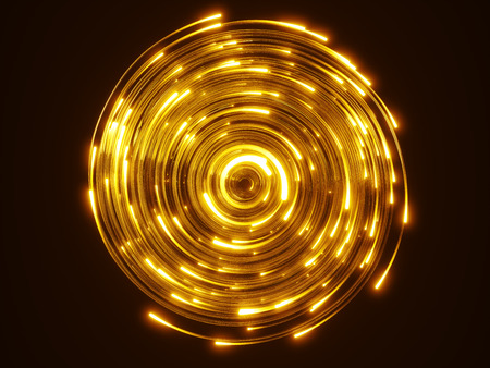 yellow fiber optic cables vortex. glass strings glowing in dark. 3d illustration, upside view