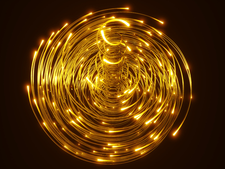 yellow fiber optic cables vortex. glass strings glowing in dark. 3d illustration