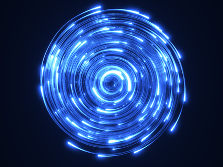 blue fiber optic cables vortex. glass strings glowing in dark. 3d illustration, upside view