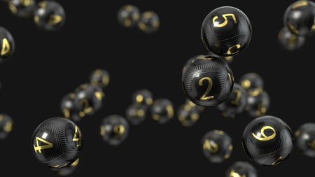 Carbon fiber lottery balls with golden numbers. 3d illustration