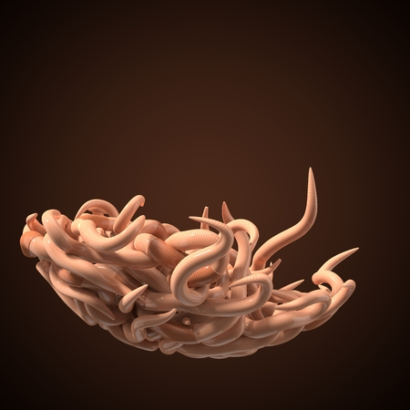 A lot of swarming worms on dark background. 3d illustration