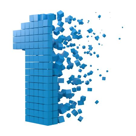 number 1 shaped data block. version with blue cubes. 3d pixel style vector illustration. suitable for blockchain, technology, computer and abstract themes.