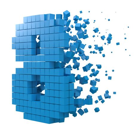 number 8 shaped data block. version with blue cubes. 3d pixel style vector illustration. suitable for blockchain, technology, computer and abstract themes.