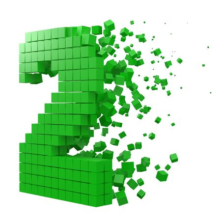 number 2 shaped data block. version with green cubes. 3d pixel style vector illustration. suitable for block chain, technology, computer and abstract themes.