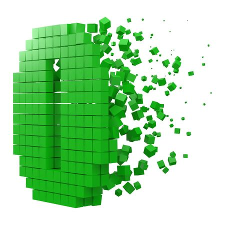 number 0 shaped data block. version with green cubes. 3d pixel style vector illustration. suitable for blockchain, technology, computer and abstract themes.