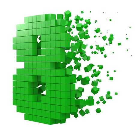 number 8 shaped data block. version with green cubes. 3d pixel style vector illustration. suitable for blockchain, technology, computer and abstract themes.  イラスト・ベクター素材