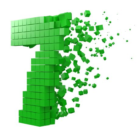 number 7 shaped data block. version with green cubes. 3d pixel style vector illustration. suitable for blockchain, technology, computer and abstract themes.