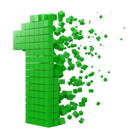 blocco dati a forma di numero 1. versione con cubetti verdi. Illustrazione vettoriale di stile pixel 3D. adatto per blockchain, tecnologia, computer e temi astratti.