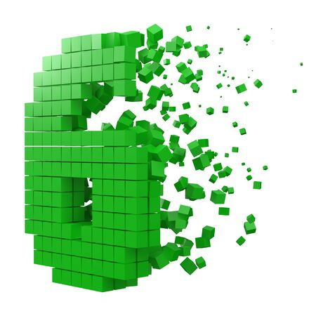 number 6 shaped data block. version with green cubes. 3d pixel style vector illustration. suitable for blockchain, technology, computer and abstract themes. Illustration