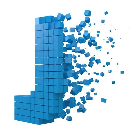 letter J shaped data block. version with blue cubes. 3d pixel style vector illustration. suitable for blockchain, technology, computer and abstract themes.