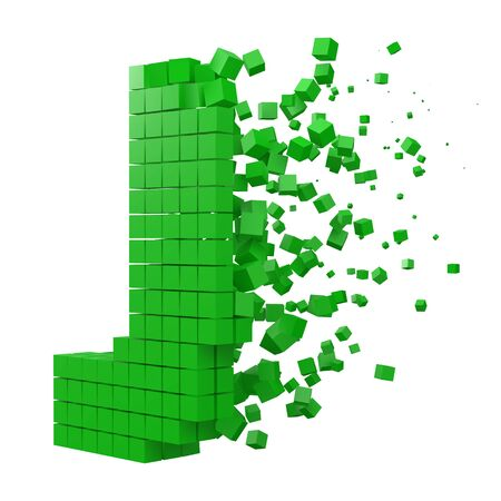 letter J shaped data block. version with green cubes. 3d pixel style vector illustration. suitable for blockchain, technology, computer and abstract themes.