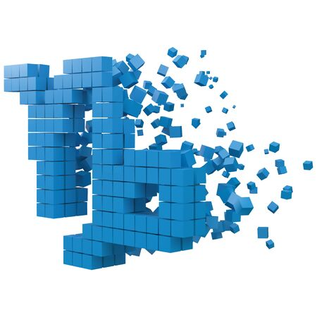capricorn zodiac sign shaped data block. version with blue cubes. 3d pixel style vector illustration. suitable for blockchain, technology, computer and abstract themes.