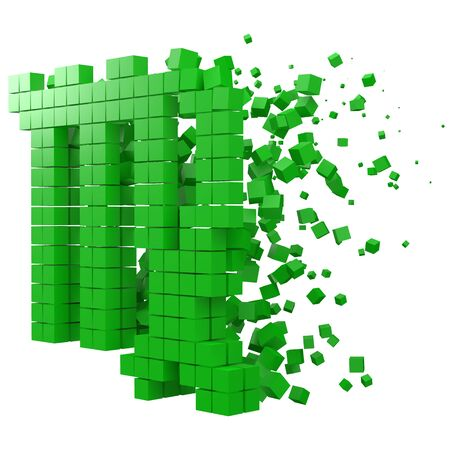 virgo zodiac sign shaped data block. version with green cubes. 3d pixel style vector illustration. suitable for blockchain, technology, computer and abstract themes. Çizim