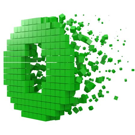 letter O shaped data block. version with green cubes. 3d pixel style vector illustration. suitable for blockchain, technology, computer and abstract themes.